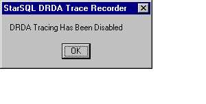 Tracing Disabled confirmation dialog